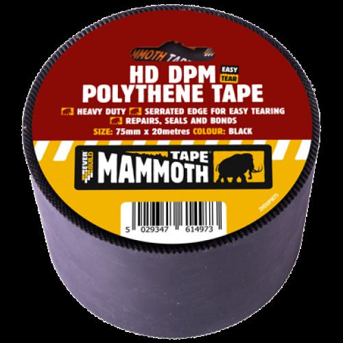 Everbuild HD DPM Polythene Tape  Heavy Duty Seprated Edge Black