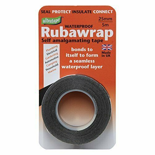 Rubawrap Waterproof  self-amalgamating Tape 25mm x 5m Black